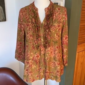 🌟3 for $25/April Cornell Bird and Flower Blouse